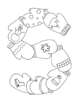Winter Coloring Pages pdf Snowflake Mittens Ski Set of Fou