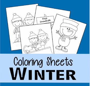 Winter Coloring Sheets (Preschool, Kindergarten)