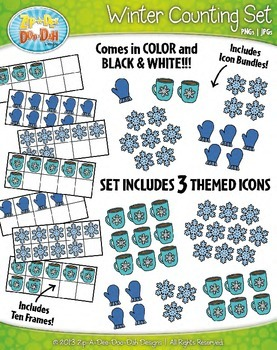Winter Counting and Ten Frames Math Clipart Set — Includes