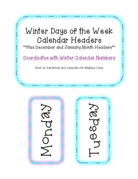 Winter Days of the Week Calendar Headers