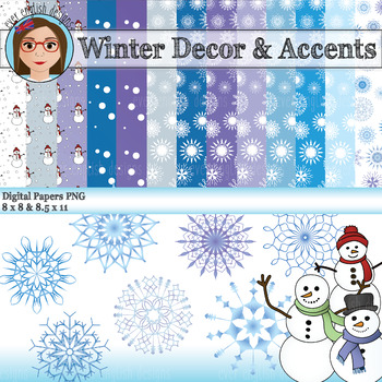 Winter Digital Papers and Accents