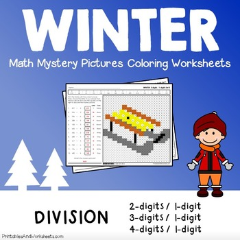 Winter Math Division, Winter Division Color by Number Myst