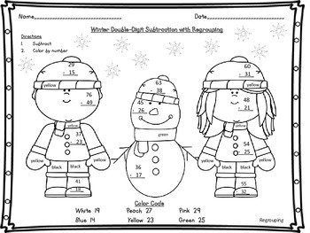 Winter Double Digit 2 Digit Subtraction with and without R