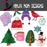 Winter Elements Clip Art in Color and Black Line