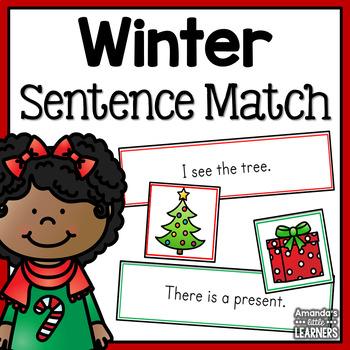 Winter Emergent Reader Sentence Matching Strips