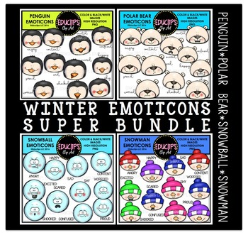 Winter Emoticons Clip Art Super Bundle