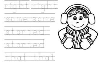 Winter First Grade Sight Word Tracing