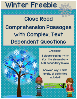 Winter FREEBIE - Close Read Comprehension Passages with Co