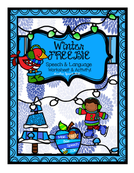 Winter FREEBIE Speech Language Worksheet Activity