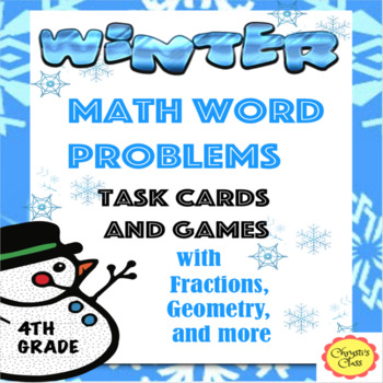 Winter Math Word Problem Task Cards and Games with Fractio