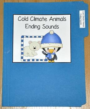 "Winter File Folder Game--""Cold Climate Animals Ending Sounds"""