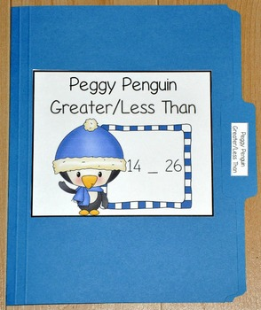 """Winter File Folder Game--""""Peggy Penguin Greater Than/Less Than"""""""