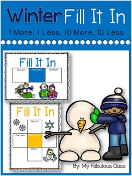 Winter Fill It In 1 More, 1 Less, 10 More, 10 Less