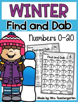 Winter Find and Dab (Numbers 0-20)