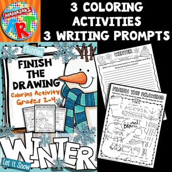 Winter Finish The Drawing Coloring Activity