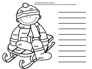 Winter First Grade Find and Record Sight Words
