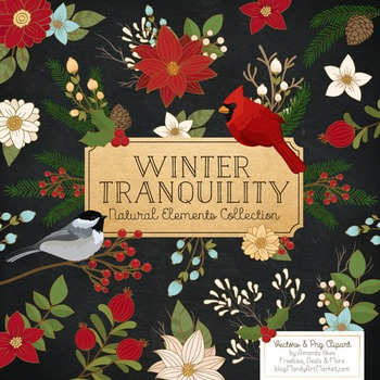 Winter Flowers & Songbirds Clipart