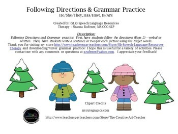 Winter Following Directions and Grammar Practice