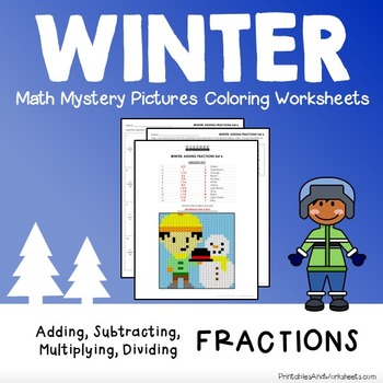Operations with Fractions, Winter Coloring Mystery Picture