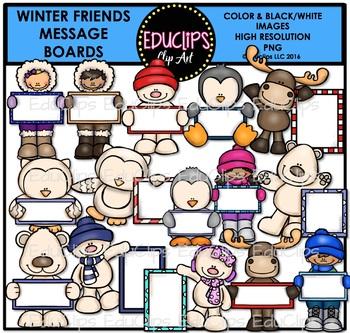 Winter Friends Message Boards Clip Art Bundle {Educlips Clipart}