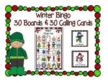 Winter Fun Bingo 5x5 Boards 30 Unique Cards Classroom Party Game