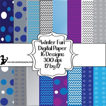 Winter Fun Digital Paper- 16 Designs- 12 by 12- 300 dpi