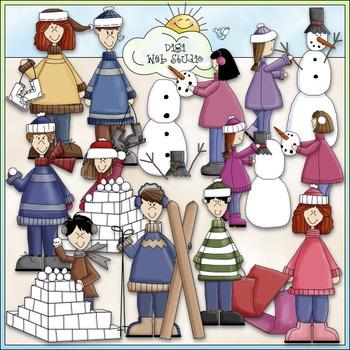 Winter Fun Kids Clip Art - Winter Clip Art - CU Clip Art & B&W