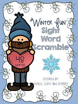 Winter Fun Sight Word Scramble - No prep!