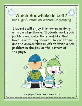 Winter Fun: Which Snowflake Is Left?  Two Digit Subtractio
