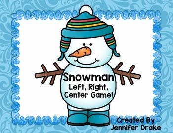 Winter Game! Snowman Left, Right, Center; Great for Left/R