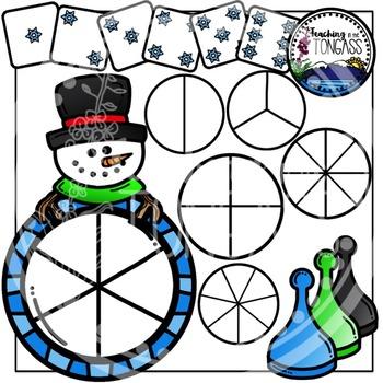 Snowman Winter Clipart Bundle Spinner Games