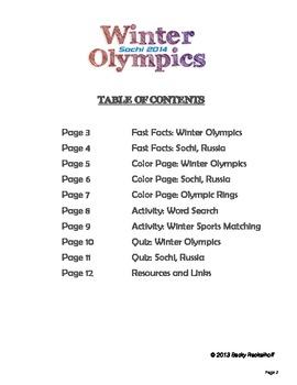 Winter Games Unit Study