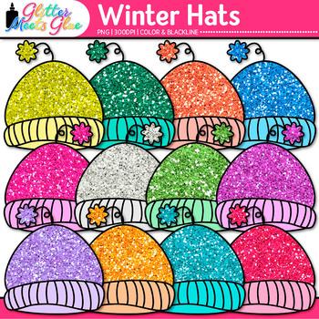 Winter Hat Clip Art {Rainbow Glitter Caps for Digital Reso