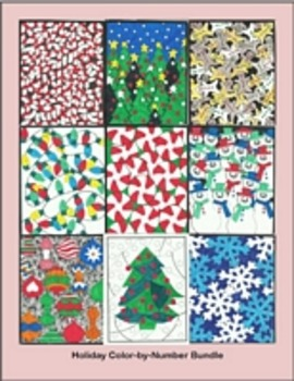 Winter Holiday Bundle - Color By Number Snow, Peppermint,