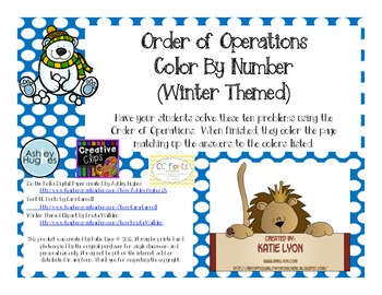 Winter Holiday Color By Number - Order of Operations