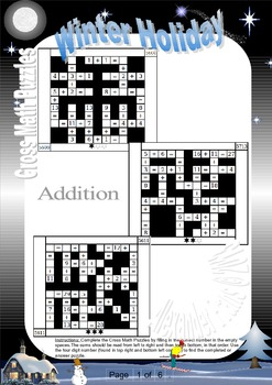 Winter Holiday Fun Puzzles, Cross Math Puzzle Worksheets,