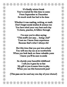 Winter Holiday Poem and Homework Pass