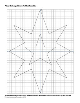 Winter Holidays Christmas Star Coordinate Plane Connect th