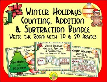 Winter Holidays Count, Add & Subtract Bundle with 10 & 20
