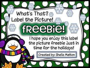 Winter Holidays Label the Picture FREEBIE!