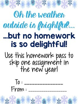 Winter Homework Pass [Freebie!]
