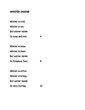 Winter Inside by Douglas Florian Poem and Questions