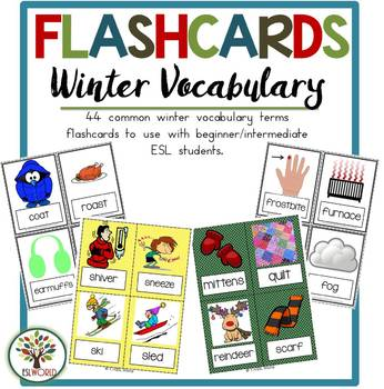 Winter Items {44 Flashcards & Games} ESL Adults & Grades 1-6