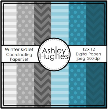 Winter Kidlets Coordinating Paper Set {Graphics for Commer