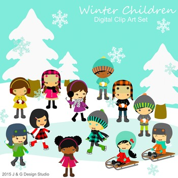 Winter Kids, Children Digital Clipart