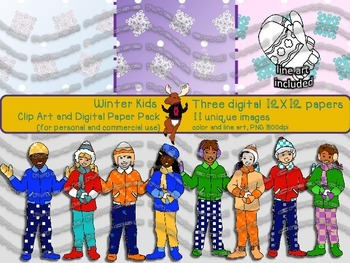 Winter Kids Digital Papers and Clipart {for personal and c
