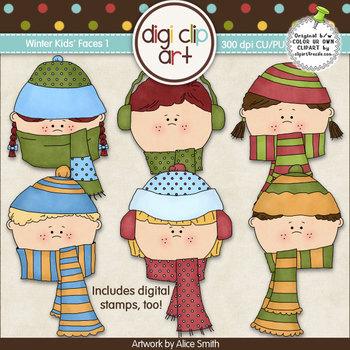 Winter Kids Faces 1-  Digi Clip Art/Digital Stamps - CU Clip Art