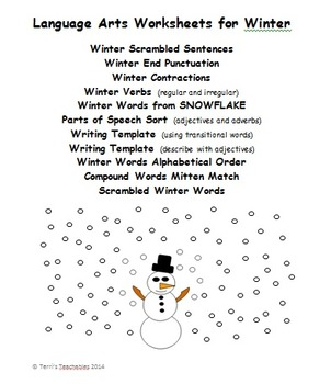 Winter Language Arts - contractions, parts of speech, comp
