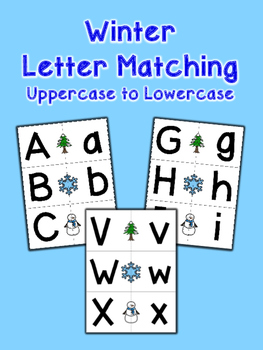 Winter Letter Matching Cards - Uppercase to Lowercase - Set of 26