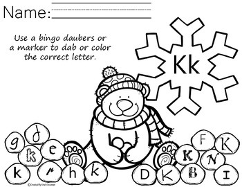 Winter Letter recognition - bingo dab activity - free sample
